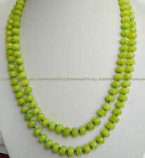 New 5x8mm Faceted Peridot Beads Gemstone Necklace 35 Inch