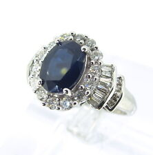 2 ct SAPPHIRE Natural 14k White Gold .59 ct tw DIAMONDS Round & Baguette Ring