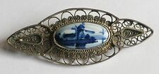 Ancienne broche bijou vintage argent 925 camée porcelaine delft moulin bleu 13