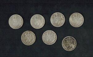7 x Queen Victoria Old Head Threepences