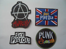 4 Punk Rock Patches Sew On / Iron On Pistols Anarchy Music Union Jack Patch