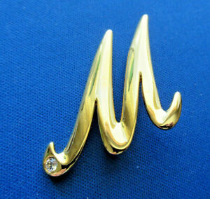 Unmarked Gold Tone Initial M ~ Letter M w/ Rhinestone Brooch Pin