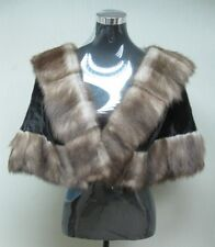 FREE SHIPPING 100% REAL MINK LADIES CAPE WITH STONE MARTEN TRIM ALL OCCASION
