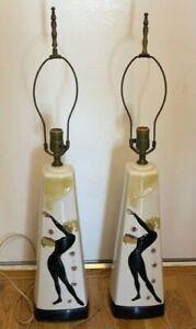 Vintages 60's Blonde Pony Tail Dancer Ceramic Table Lamps Pair