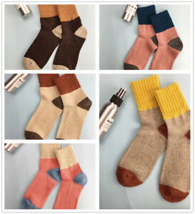 5 Pairs Christmas Thermal Warm Wool Womens Thick Cashmere Chuncky Cotton Socks