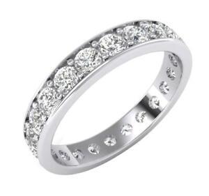 Eternity Wedding Ring Natural Diamond  SI1 G 2.20 Ct 14K White Gold Appraisal