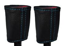 BLUE STITCH 2X SEAT BELT STALK LEATHER SKIN COVERS FITS KIA SOUL 2009-2014