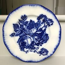 Antique Staffordshire Iron Stone Flow Blue Plate Roses