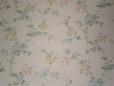 Vintage Blue, Pink & Yellow Flowers on Off White by Seabrook FG7032