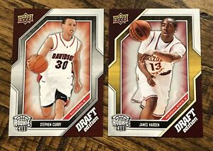 2009-10 UD Draft Edition Rookie Card Lot of 2 - Stephen Curry & James Harden 🔥
