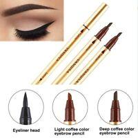 Double-use Waterproof Eyebrow Enhancer Cosmetic Makeup Pen With Liquid Eyeliner