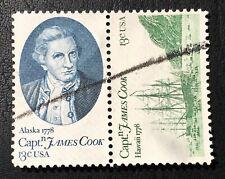 US 13 cent Capt. James Cook with Ship (2 stamp strip) SC #1732-1733 MNH