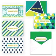 Green Design Thank You Folded Assortment Card Pack Set of 36 Cards w/ Envelopes