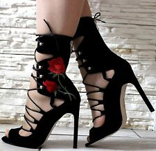LADIES BLACK RED HIGH STILETTO HEEL LACE UP PEEP TOE CALF ANKLE BOOTS SHOES SIZE
