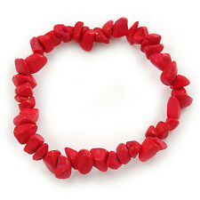 Rose Red Pulsera Flexible de cuentas de piedra semipreciosos Nugget - 18cm L