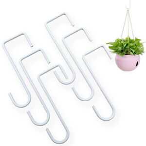 6Pcs White Steel Indoor Flower Baskets Hangers Outdoor Fence Gardening Hooks Eff