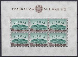 """San Marino 1961 foglietto """"Europa"""" n. 23 nuovo MNH** g. integra firmato"""