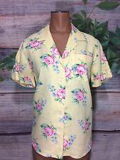 Ralph Lauren Yellow Linen Top PM Pink Floral Hawaiian Button Down Blouse Medium
