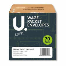 70 Wage Cash Earnings Packet Brown Envelopes Staff Pay Office Envelope