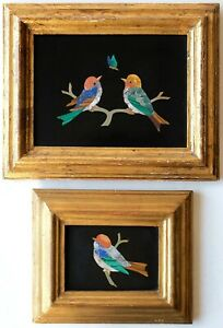 Two Natural Marble Mosaics, Framed Wild Birds Portrait, G.Ugolini Florence Italy