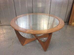 G Plan Astro Vintage Retro Mid Century Teak & Glass Round Coffee Table M4175A