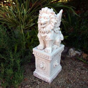 Lion With Wings On Pedestal Garden Statue Sculpture