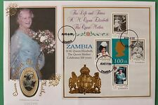 2000 Zambia Queen Mother 100th Birthday 4000 Silver Kwacha Cover & Coin SNo44114