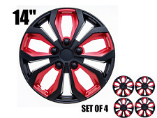 "14"" inch Hubcaps CAR+ ""SPA"" ABS RED AND BLACK Easy to install Set of 4 pieces"