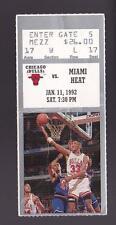 Jan 11 1992 Chicago Bulls vs Miami Heat Ticket Stub Michael Jordan 30-6-7