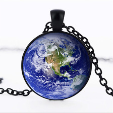 Earth surface Black/Bronze/Tibet silver glass dome chain Pendant Necklace