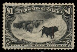 US #292, $1.00 Cattle in Storm, og, NH light overall toning, AISE & PSE certs