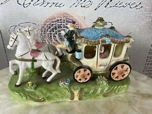 vintage porcelain horse and carriage made in japan
