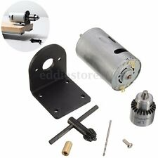 "Mini Hand Drill DIY Lathe Press 555 Motor w/ 1/8"" Chuck+Mounting Bracket 12-24V"