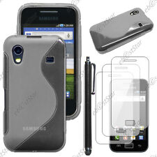 Housse Etui Coque Silicone Gris Samsung Galaxy Ace S5830 + Stylet + 3 Films