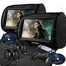 "2x 9"" Black Car Headrest HD Touch Dual DVD Player Speaker Zipper Cover Headphone"