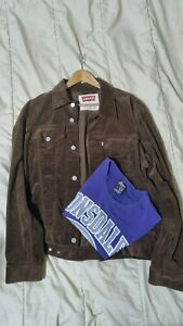 Levi Cord Jacket (L) Chocolate Brown, Lonsdale T-Shirt (L) Combo