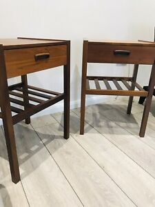 Mid Century Danish Style Myers Teak Pair of Side Tables Bedside