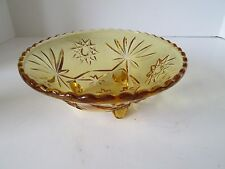 EAPC Early American Prescut Amber Three Footed Candy Dish Bowl Anchor Hocking