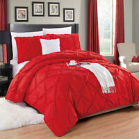 3 Piece Pintuck Duvet Quilt Cover Set Single Double King Bed Throw Bedding Set