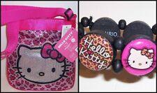 HELLO KITTY PINK ANIMAL PRINT Sequin CROSS-BODY SHOULDER BAG Purse & BRACELET