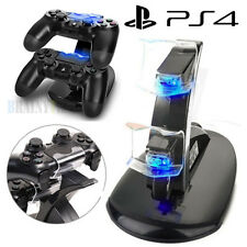 AGPtek For PS4 Controller LED Dual Charger Dock Station USB Fast Charging Stand