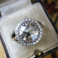 Luxury 925 Silver Round Cut White Sapphire Halo Ring Womens Wedding Band Jewelry