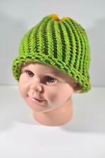 Lime Green Yellow Blue Hand Knit Hat Beanie Toddler Child 100% Acrylic