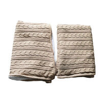 Pottery Barn 2 x Cable Knit Reversible Throw Blanket Sherpa Lined 50 x 60 Brown