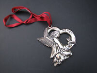 Christmas Ornament Gorham Signed Silver Plate Peace Angel Dove Bird
