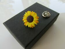 Handmade Yellow Sunflower Brooch Pin - Hospice UK Donation Gift Boxed  A