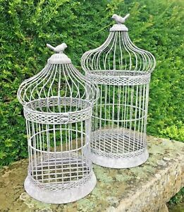 Metal Birdcage In Grey Wash Effect, Garden, Home, Wedding Decor, Hedwig Cage