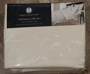 Hotel Collection DUVET Scroll Embroidered 100% Egyptian cotton 600 TC  KING tan