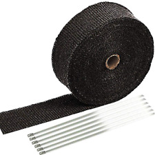 """2"""" x 50' Black Exhaust Heat Wrap Roll for Motorcycle Fiberglass Heat Shield Tape"""