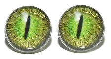 SPOOKY GREEN GLASS DRAGON EYES CUFF LINKS (179a)